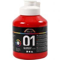 Vernice acrilica scolastica lucida, brillante, rosso, 500 ml/ 1 bott.
