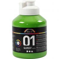 Vernice acrilica scolastica lucida, brillante, verde chiaro, 500 ml/ 1 bott.