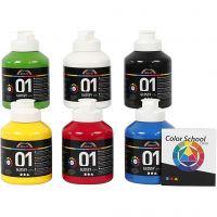 Vernice acrilica scolastica lucida, brillante, colore primario, 6x500 ml/ 1 conf.