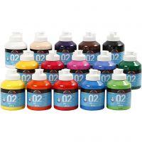 Pittura acrilica opaca per la scuola, opaco, colori asst., 15x500 ml/ 1 scat.