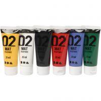 Pittura acrilica opaca per la scuola, opaco, colori standard, 6x20 ml/ 1 conf.