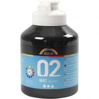 Pittura acrilica opaca per la scuola, opaco, nero, 500 ml/ 1 bott.