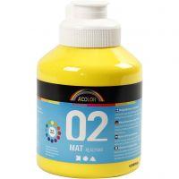 Pittura acrilica opaca per la scuola, opaco, giallo primario, 500 ml/ 1 bott.