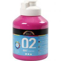 Pittura acrilica opaca per la scuola, opaco, rosa, 500 ml/ 1 bott.