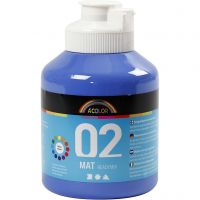 Pittura acrilica opaca per la scuola, opaco, blu, 500 ml/ 1 bott.