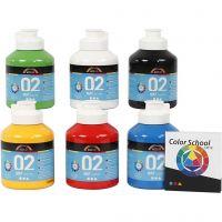 Pittura acrilica opaca per la scuola, opaco, colore primario, 6x500 ml/ 1 conf.
