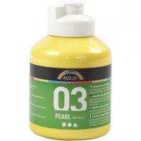 Vernice acrilica scolastica metallizzata, metallico, giallo, 500 ml/ 1 bott.