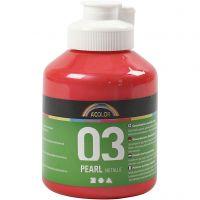 Vernice acrilica scolastica metallizzata, metallico, rosso, 500 ml/ 1 bott.