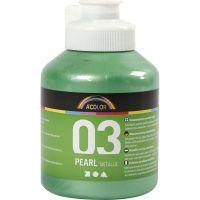 Vernice acrilica scolastica metallizzata, metallico, verde chiaro, 500 ml/ 1 bott.
