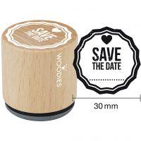 Timbro in legno, Save the date, H: 35 mm, diam: 30 mm, 1 pz