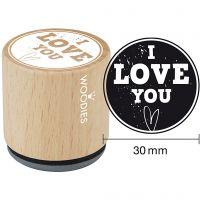 Timbro in legno, I love you, H: 35 mm, diam: 30 mm, 1 pz