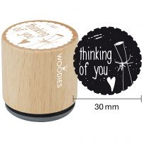 Timbro in legno, thinking of you, H: 35 mm, diam: 30 mm, 1 pz