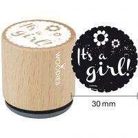 Timbro in legno, It's a girl!, H: 35 mm, diam: 30 mm, 1 pz