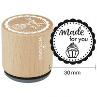 Timbro in legno, made for you, H: 35 mm, diam: 30 mm, 1 pz