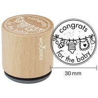Timbro in legno, congrats for the baby, H: 35 mm, diam: 30 mm, 1 pz