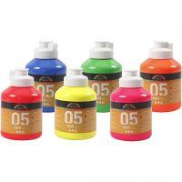 Vernice acrilica scuolastica neon, colori neon, 6x500 ml/ 1 scat.