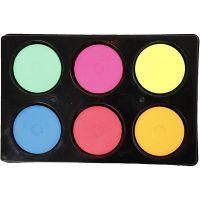 Acquerelli, H: 16 mm, diam: 44 mm, colori neon, 1 set