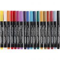 Pennarelli per stoffa, ampiezza tratto 2-3 mm, colori asst., 18 pz/ 1 conf.