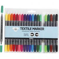 Pennarelli per stoffa, ampiezza tratto 2,3+3,6 mm, colori standard, 20 pz/ 1 conf.