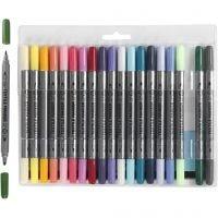 Pennarelli per stoffa, ampiezza tratto 2,3+3,6 mm, colore aggiuntivo, 20 pz/ 1 conf.