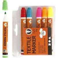 Pennarelli per stoffa, ampiezza tratto 2-4 mm, colori neon, 6 pz/ 1 conf.