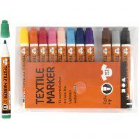 Pennarelli per stoffa, ampiezza tratto 2-4 mm, colori asst., 12 pz/ 1 conf.