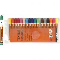 Pennarelli per stoffa, ampiezza tratto 2-4 mm, colori asst., 18 pz/ 1 conf.