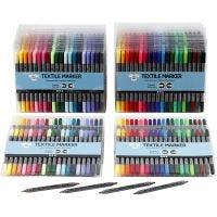 Pennarelli per stoffa, ampiezza tratto 2,3+3,6 mm, colori standard, colore aggiuntivo, 24x20 pz/ 1 conf.