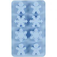 Stampo in silicone, cristalli di ghiaccio e omino di pan di zenzero, H: 2,5 cm, L: 24 cm, L: 14 cm, misura buco 30x45 mm, 12,5 ml, 1 pz/ 1 conf.