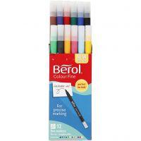 Berol Colourfine, diam: 10 mm, ampiezza tratto 0,3-0,7 mm, colori asst., 12 pz/ 1 conf.