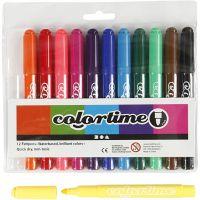 Pennarelli Colortime, ampiezza tratto 5 mm, colori standard, 12 pz/ 1 conf.