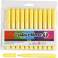 Pennarelli Colortime, ampiezza tratto 5 mm, giallo limone, 12 pz/ 1 conf.