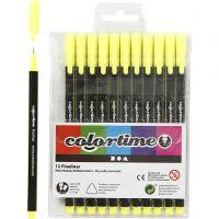 Pennarello Colortime Fineliner, ampiezza tratto 0,6-0,7 mm, giallo, 12 pz/ 1 conf.