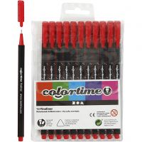 Pennarello Colortime Fineliner, ampiezza tratto 0,6-0,7 mm, rosso, 12 pz/ 1 conf.