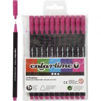 Pennarello Colortime Fineliner, ampiezza tratto 0,6-0,7 mm, ciclamino, 12 pz/ 1 conf.