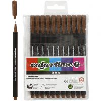 Pennarello Colortime Fineliner, ampiezza tratto 0,6-0,7 mm, marrone, 12 pz/ 1 conf.