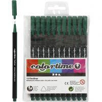 Pennarello Colortime Fineliner, ampiezza tratto 0,6-0,7 mm, verde scuro, 12 pz/ 1 conf.