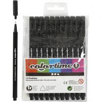 Pennarello Colortime Fineliner, ampiezza tratto 0,6-0,7 mm, nero, 12 pz/ 1 conf.