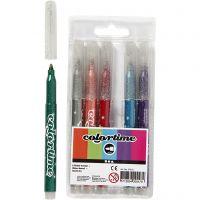 Pennarelli glitter Colortime, ampiezza tratto 2 mm, colori asst., 6 pz/ 1 conf.