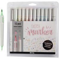 Sketch Marker , ampiezza tratto 1+2-5 mm, colori pastello, 12 pz/ 1 conf.