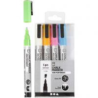 Pennarelli gessati, ampiezza tratto 1,2-3 mm, colori forti, 5 pz/ 1 conf.