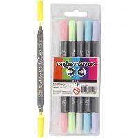 Pennarello doppio Colortime, ampiezza tratto 2,3+3,6 mm, colori pastello, 6 pz/ 1 conf.