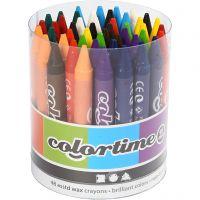 Pastelli a cera Colortime, L: 10 cm, spess. 11 mm, colori asst., 48 pz/ 1 conf.