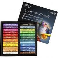 Pastelli a olio Gallery Premium, L: 7 cm, spess. 10 mm, colori asst., 24 pz/ 1 conf.