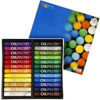 Mungyo Pastelli a olio, L: 7 cm, spess. 11 mm, colori asst., 24 pz/ 1 conf.