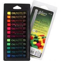 Pastelli a olio Gallery, L: 7 cm, spess. 11 mm, colori neon, 12 pz/ 1 conf.