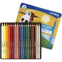 Super Ferby 1 matite colorate, L: 18 cm, mina 6,25 mm, colori asst., 18 pz/ 1 conf.