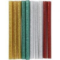 Ricariche stick per colla a caldo , L: 10 cm, glitter, oro, verde, rosso, argento, 10 pz/ 1 conf.