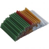 Ricariche stick per colla a caldo , L: 10 cm, diam: 7 mm, glitter, oro, verde, rosso, argento, 100 pz/ 1 conf.