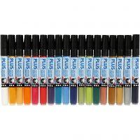 Plus Color Marker, L: 14,5 cm, ampiezza tratto 1-2 mm, colori asst., 18 pz/ 1 conf., 5,5 ml